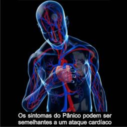 desenho do sistema circulatório de um humano com a mão no peito, junto ao coração. Os sintomas do ataque de Pânico podem ser semelhantes a um ataque cardíaco