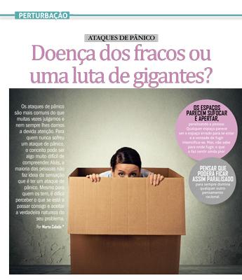 Primeira página do artigo Pânico: doença dos fracos ou luta de gigantes?, mulher assustada dentro de caixa