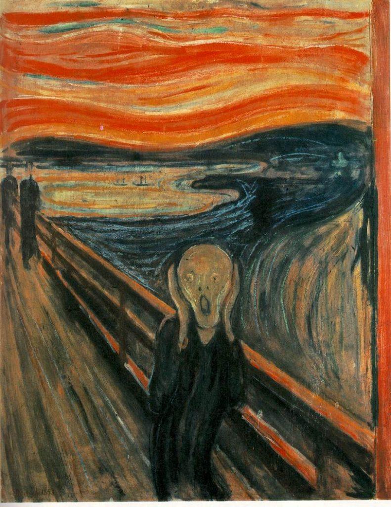 The Scream (1893), Edvard Munch, a simbolizar a sensação de Ataque de Pânico