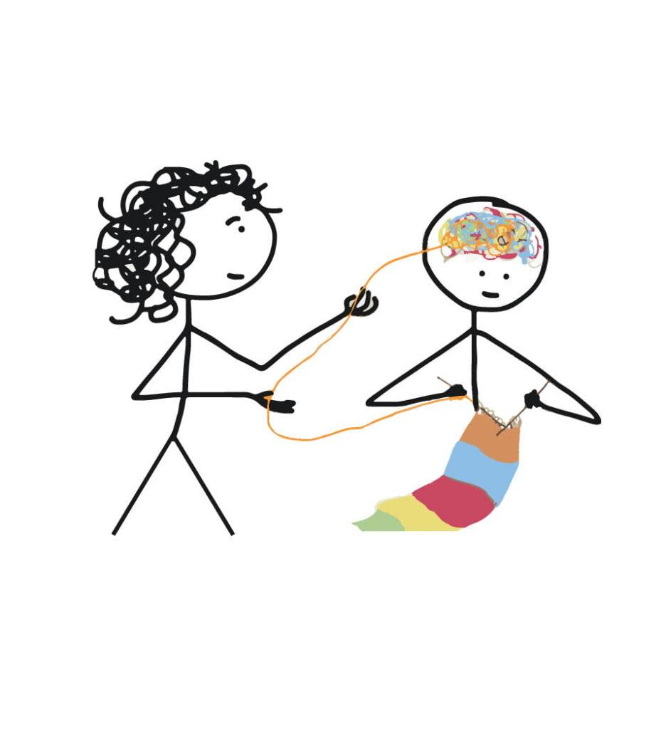 psicoterapeuta ajuda paciente a tricotar a confusão da sua mente
